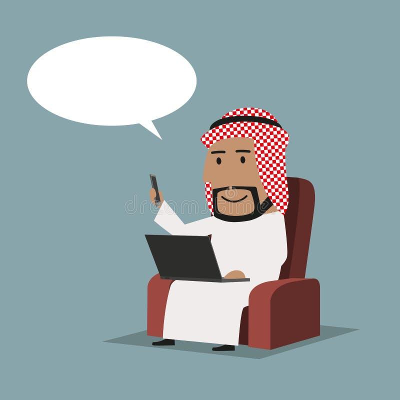Αραβικός επιχειρηματίας με το lap-top και το smartphone διανυσματική απεικόνιση