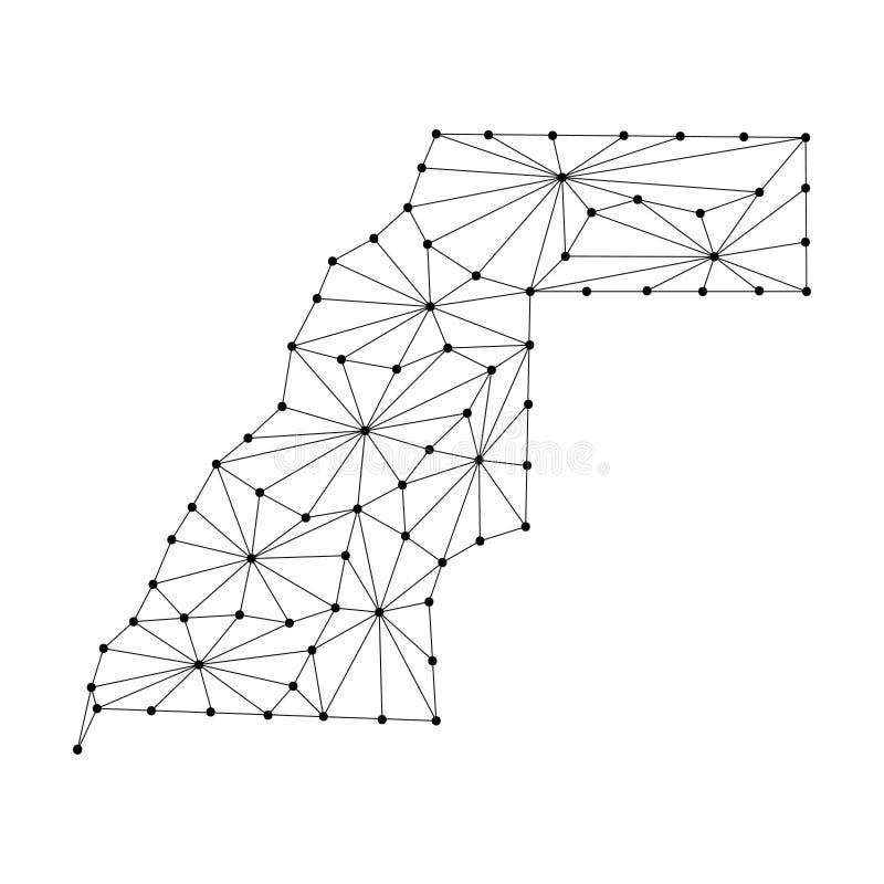 Αραβικός δημοκρατικός χάρτης Δημοκρατίας Sahrawi του polygonal δικτύου γραμμών μωσαϊκών, ακτίνες, σημεία διανυσματική απεικόνιση