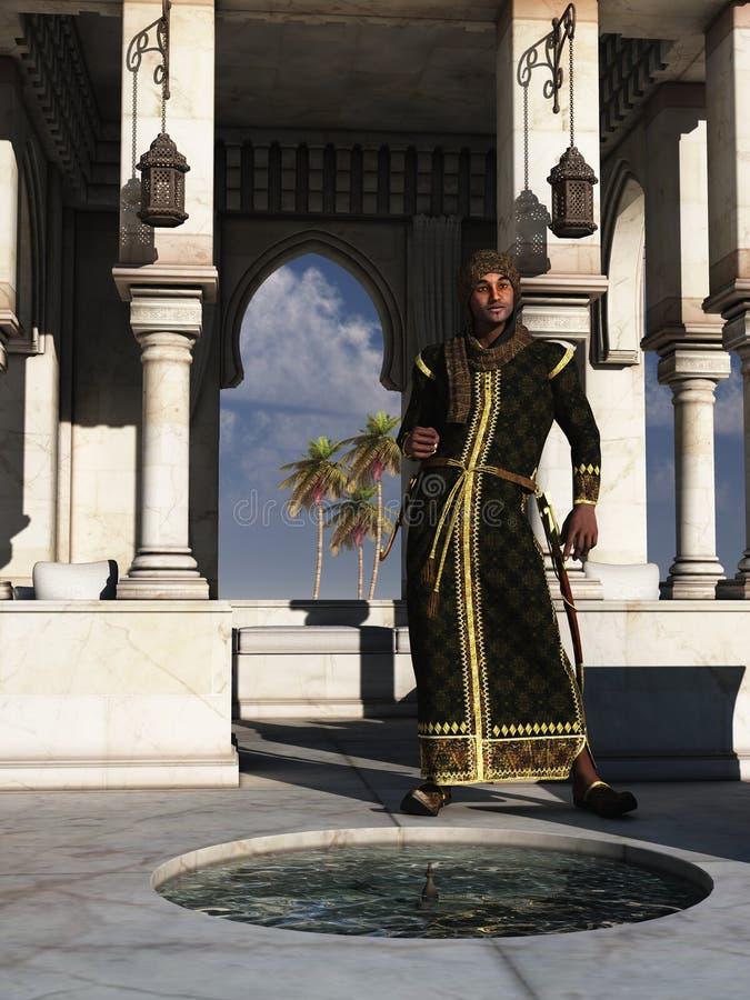 Αραβικός πρίγκηπας νυχτών στο θερινό παλάτι του ελεύθερη απεικόνιση δικαιώματος