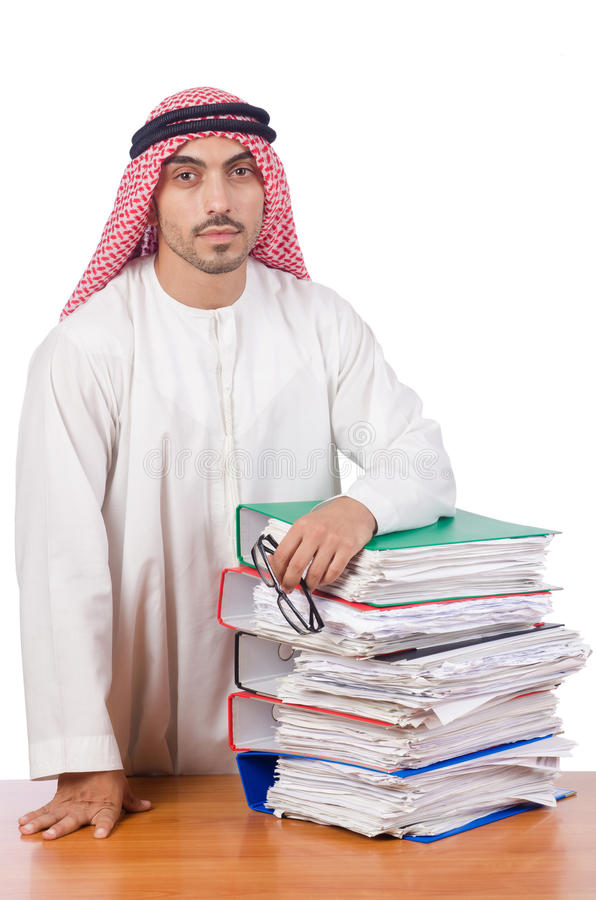 Download Αραβικό άτομο που εργάζεται στο γραφείο Στοκ Εικόνες - εικόνα από γραμματοθήκες, headscarf: 62707582