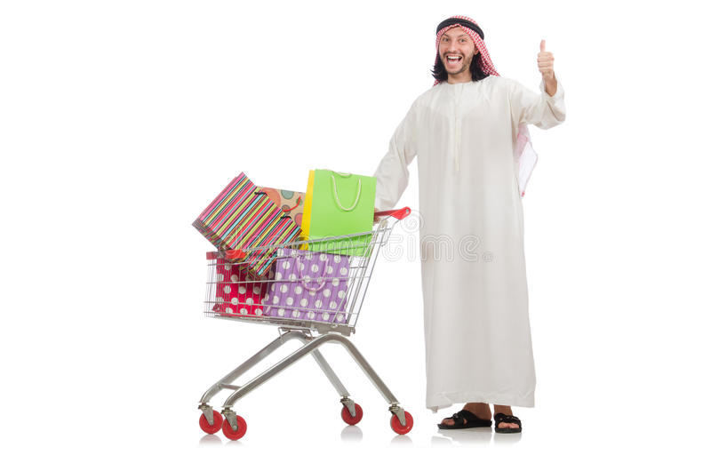 Download Αραβικό άτομο που κάνει τις αγορές που απομονώνονται στο λευκό Στοκ Εικόνα - εικόνα από παρουσιάζει, bahama: 62705919