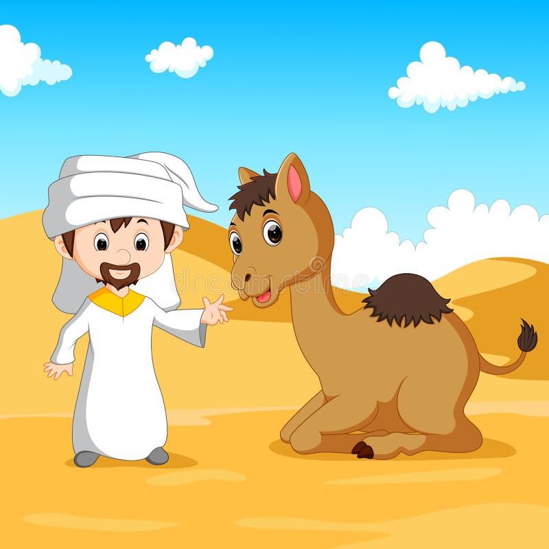 Αραβικό αγόρι και μια καμήλα στην έρημο ελεύθερη απεικόνιση δικαιώματος