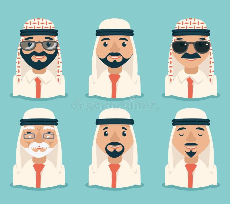 Αραβικό ειδώλων επιχειρηματιών νέο ενήλικο παλαιό αναδρομικό εκλεκτής ποιότητας εικονίδιο χαρακτηρών κινουμένων σχεδίων ενδυμάτων διανυσματική απεικόνιση