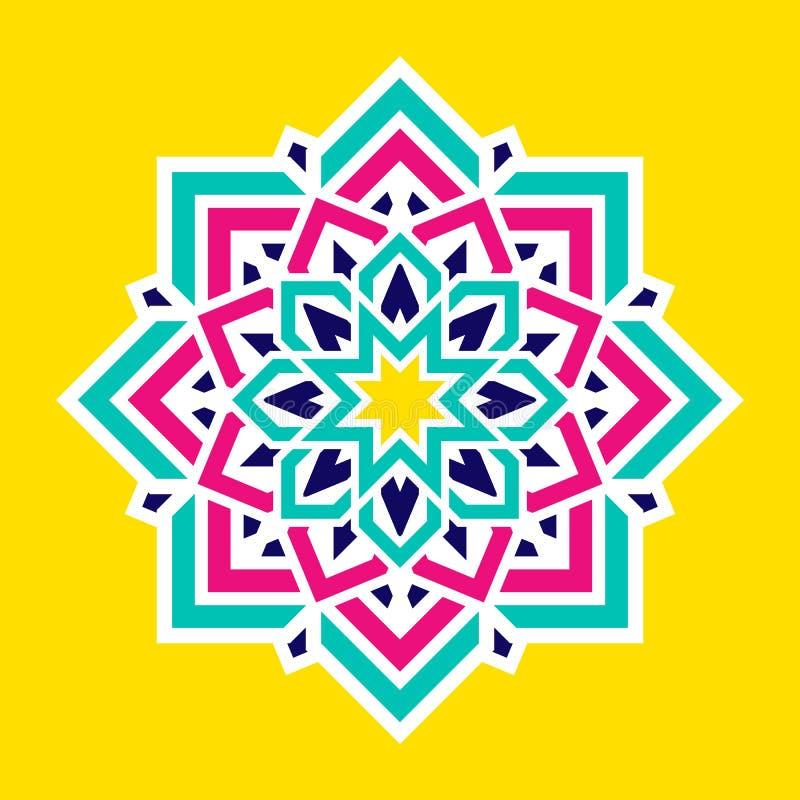 Αραβικό ζωηρόχρωμο λουλούδι Ισλαμικό διανυσματικό σχέδιο mandala Ζωηρόχρωμο ανατολικό floral σύμβολο Γεωμετρικό στρογγυλό διακοσμ διανυσματική απεικόνιση