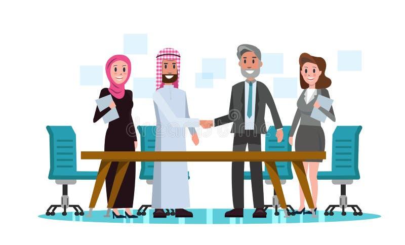 Αραβικό και δυτικό κούνημα χεριών επιχειρηματιών στην αίθουσα συνεδριάσεων διανυσματική απεικόνιση