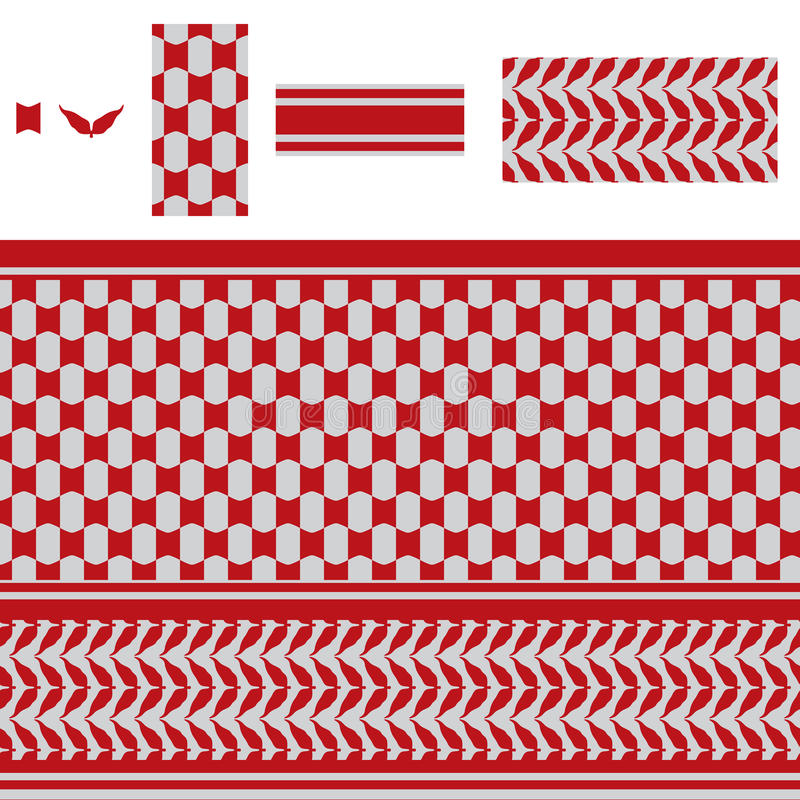 Αραβικό κόκκινο άνευ ραφής σχέδιο κυμάτων ορθογωνίων απεικόνιση αποθεμάτων