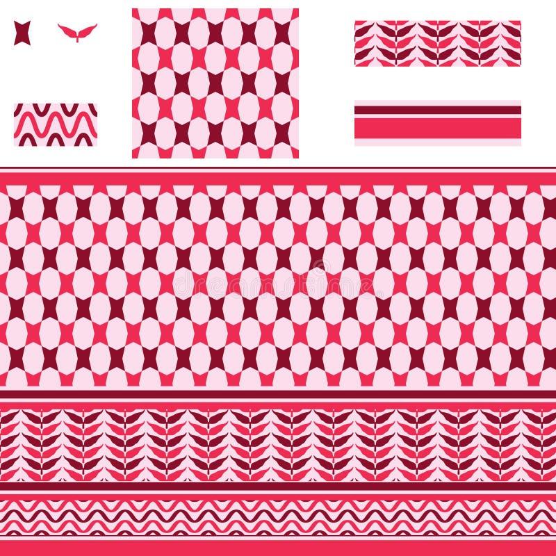 Αραβικό κόκκινο ρόδινο άνευ ραφής σχέδιο αστεριών ορθογωνίων ελεύθερη απεικόνιση δικαιώματος