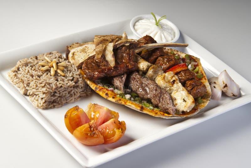 Αραβικό μικτό ψημένο στη σχάρα κρέας στοκ φωτογραφία με δικαίωμα ελεύθερης χρήσης
