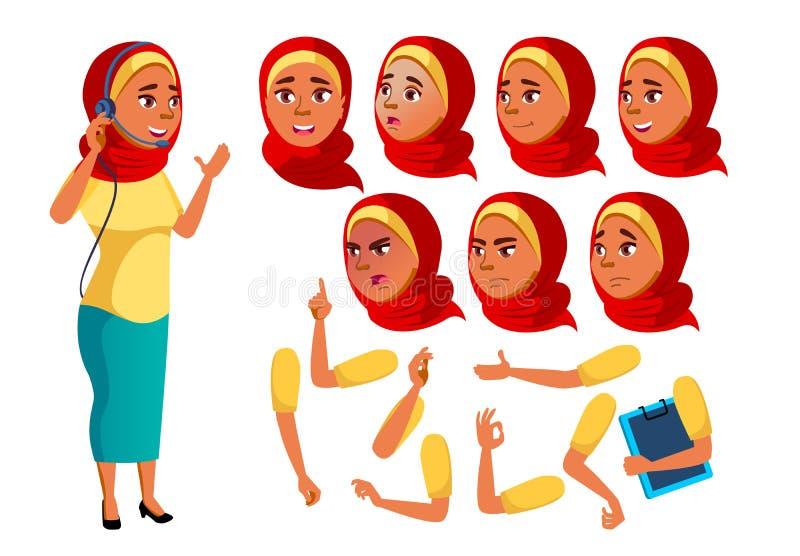 Αραβικό, μουσουλμανικό διάνυσμα κοριτσιών εφήβων έφηβος αστείος Σε απευθείας σύνδεση σύμβουλος εργαζόμενος Συγκινήσεις προσώπου,  διανυσματική απεικόνιση