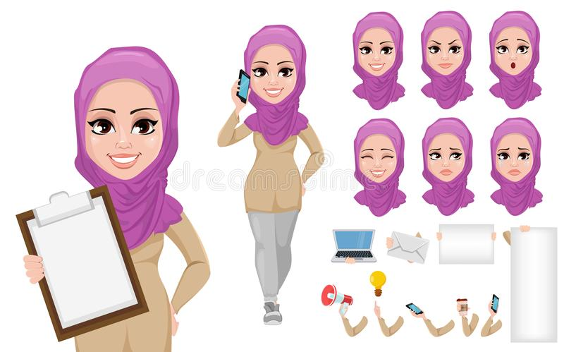 Αραβικό σύνολο δημιουργιών χαρακτήρα κινουμένων σχεδίων επιχειρησιακών γυναικών διανυσματική απεικόνιση