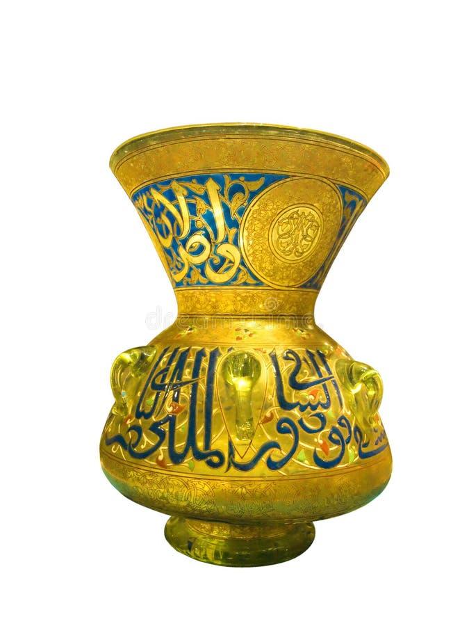 αραβικό χρυσό βάζο γυαλιού παλαιό στοκ εικόνα με δικαίωμα ελεύθερης χρήσης