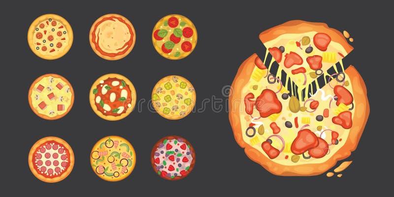 Αραιά τεμαχισμένα pepperoni είναι μια δημοφιλής πίτσα Ιταλικός μάγειρας και παράδοση πιτσών διανυσματική απεικόνιση