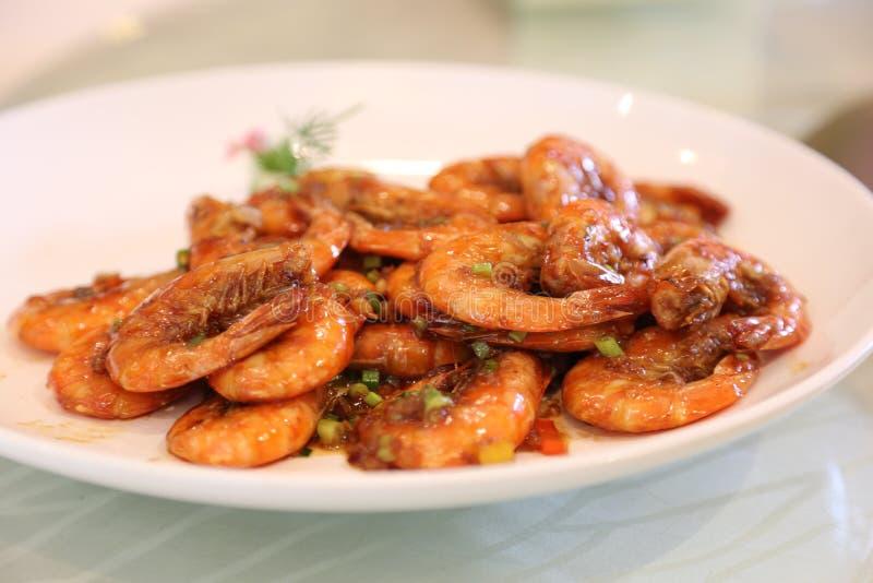Αργές γαρίδες σάλτσας σόγιας στοκ εικόνες