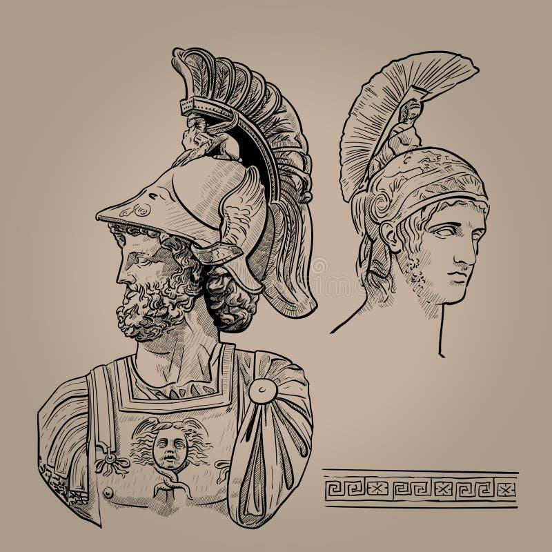 αργεντινά Ο ελληνικός Θεός του πολέμου Ψηφιακό διάνυσμα σχεδίων χεριών σκίτσων διανυσματική απεικόνιση