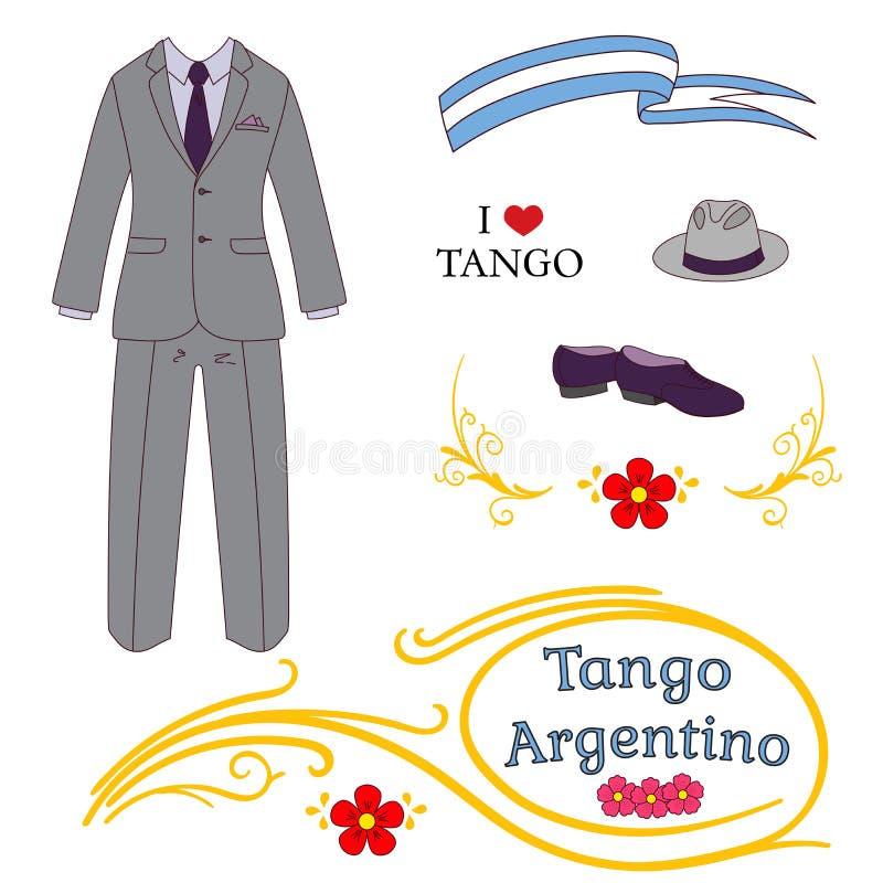 Αργεντινά στοιχεία σχεδίου τανγκό διανυσματική απεικόνιση