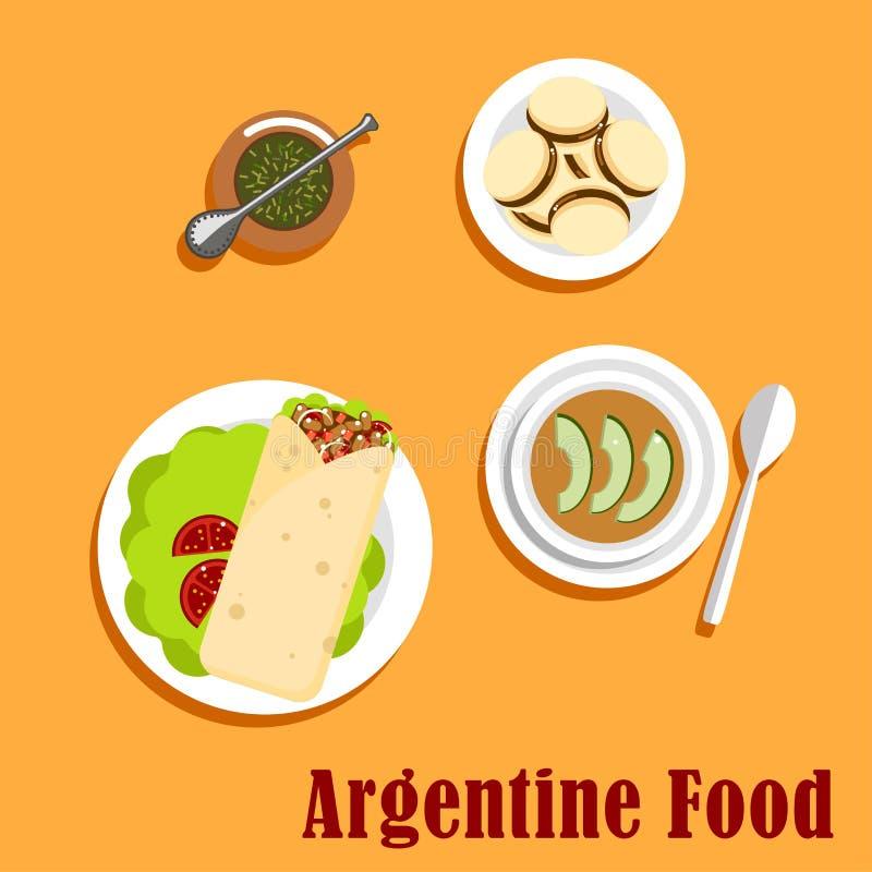Αργεντινά τρόφιμα μεσημεριανού γεύματος και επιδορπίων απεικόνιση αποθεμάτων