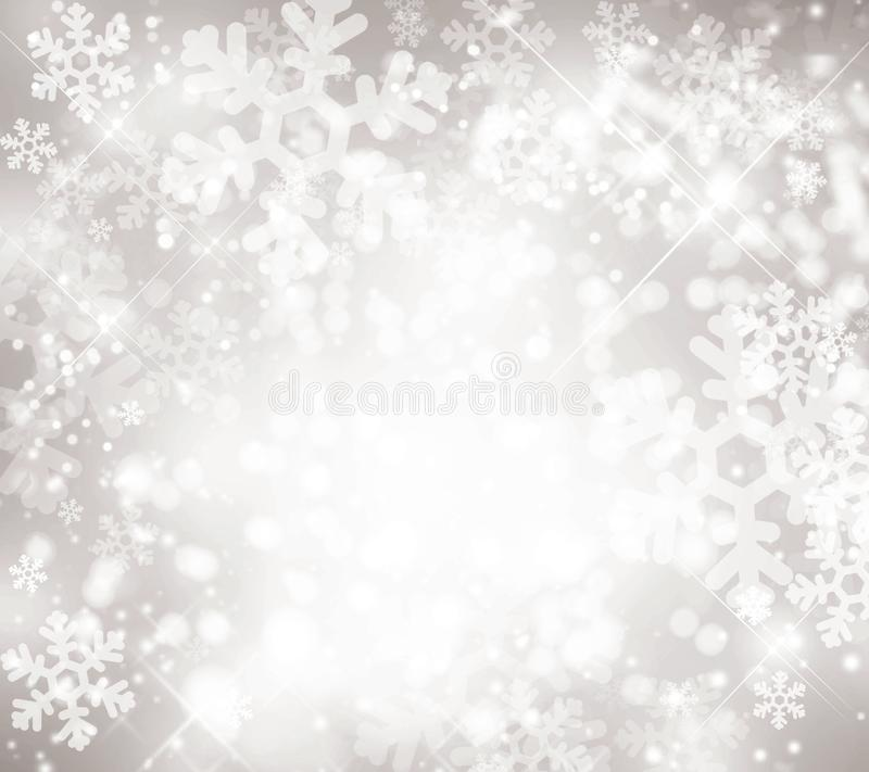 Αργυροειδές χειμερινό υπόβαθρο, snowflakes, bokeh, ελαφρύ κέντρο, χειμώνας, Ιανουάριος, Δεκέμβριος, εποχές, διακοπές, διακοπές, ά ελεύθερη απεικόνιση δικαιώματος