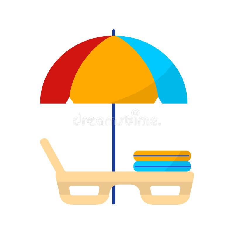 Αργόσχολος παραλιών κάτω από μια ομπρέλα Επίπεδο εικονίδιο καλοκαιρινών διακοπών χρώματος στο άσπρο υπόβαθρο στοκ εικόνα με δικαίωμα ελεύθερης χρήσης