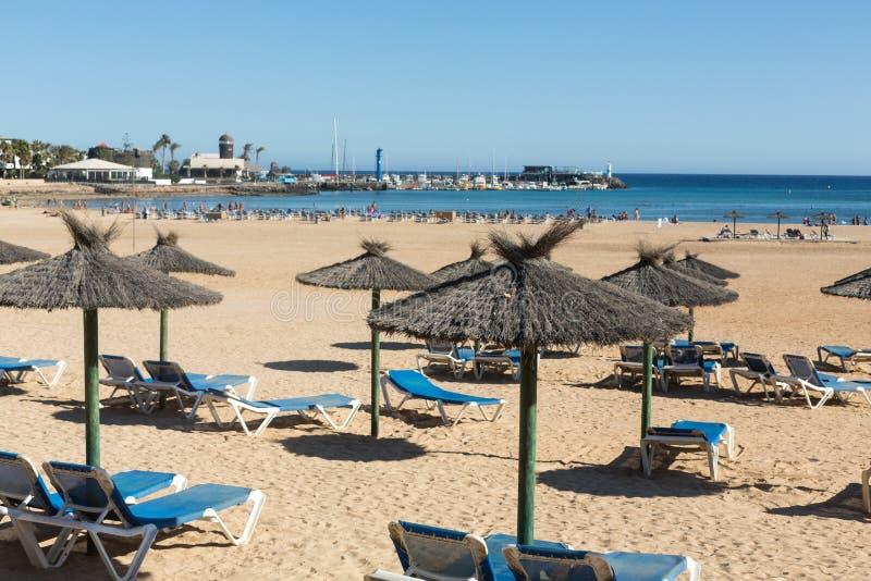 Αργόσχολος ήλιων στην παραλία Caleta de Fuste στοκ εικόνες