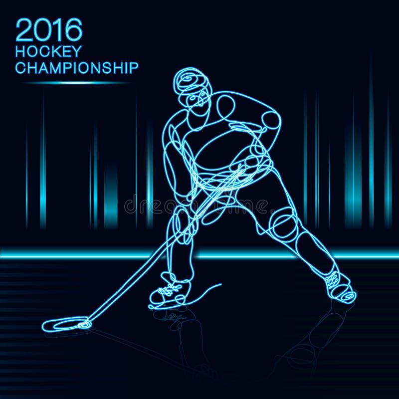 Αρθ. ένα έννοιας πρωταθλήματος χόκεϋ 2016 πάγου παίκτης γραμμών με την επίδραση νέου του ελαφριού φλυτζανιού πρωτοπόρων απεικόνιση αποθεμάτων