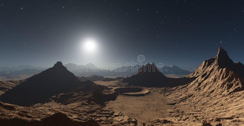 Αριανό τοπίο με τους κρατήρες διανυσματική απεικόνιση