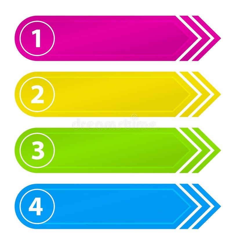 Αριθμημένα κουμπιά ιστοχώρου με το βέλος ελεύθερη απεικόνιση δικαιώματος