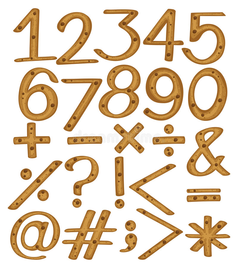 Αριθμητικοί αριθμοί και σύμβολα ελεύθερη απεικόνιση δικαιώματος