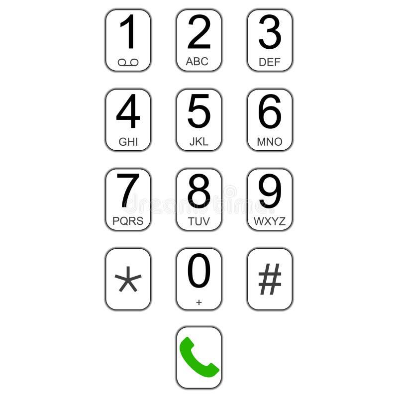Αριθμητικό πληκτρολόγιο Smartphone dialer με το διανυσματικό πληκτρολόγιο ενδιάμεσων με τον χρήστη κουμπιών για τις κλήσεις, εικο ελεύθερη απεικόνιση δικαιώματος