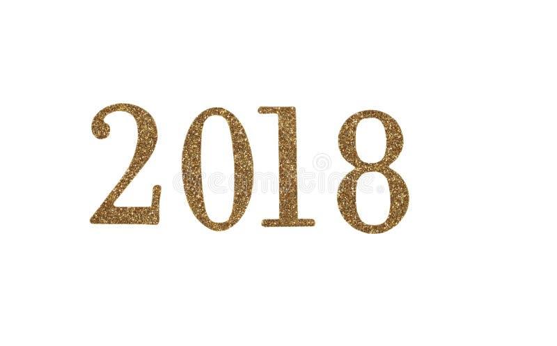 αριθμοί έτους του 2018 χρυσοί νέοι που απομονώνονται στο άσπρο υπόβαθρο στοκ εικόνα