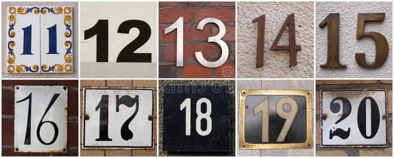 Αριθμοί 11 έως 20 στοκ εικόνα