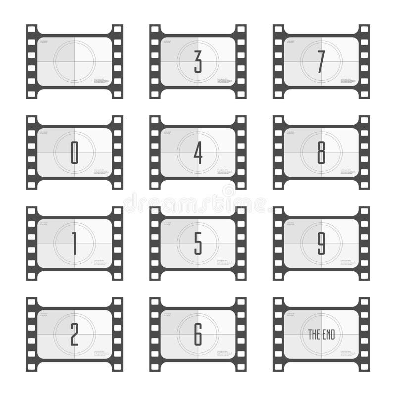 Αριθμοί αντίστροφης μέτρησης κινηματογράφων απεικόνιση αποθεμάτων
