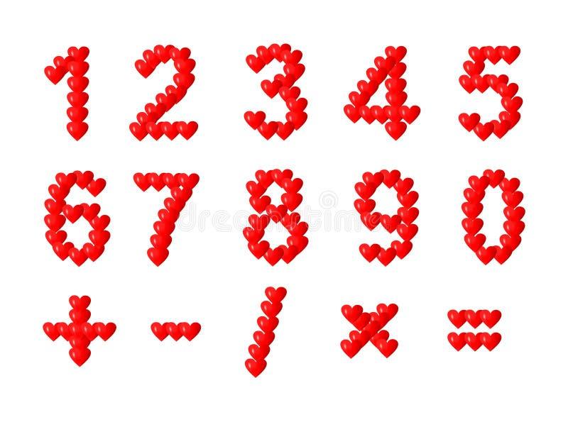 Αριθμοί καρδιών διανυσματική απεικόνιση