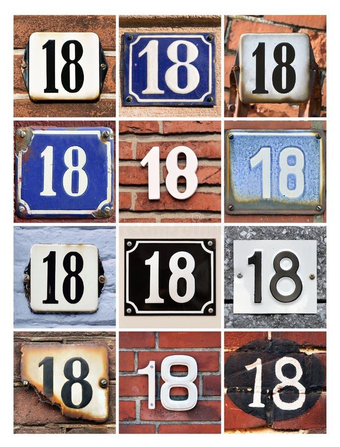 Αριθμοί δεκαοχτώ στοκ φωτογραφία