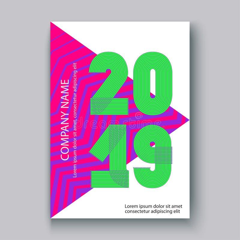 Αριθμοί 2019, ζωηρόχρωμο νέο ετήσια εκθέσεων κάλυψης σύγχρονου σχεδίου zi ελεύθερη απεικόνιση δικαιώματος