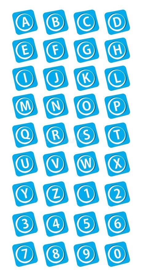 αριθμοί κουμπιών αλφάβητου απεικόνιση αποθεμάτων