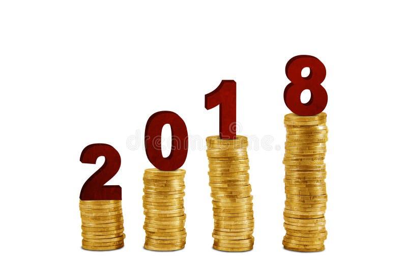 Αριθμοί 2018 με τα χρυσά νομίσματα στο στούντιο στοκ φωτογραφία