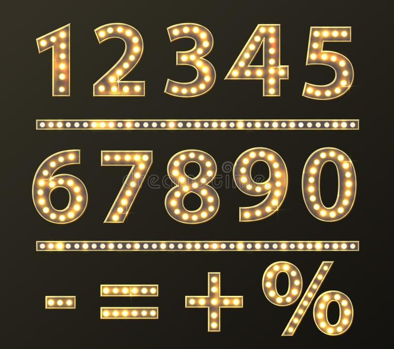 Αριθμοί με το χρυσό φως λαμπτήρων βολβών απεικόνιση αποθεμάτων