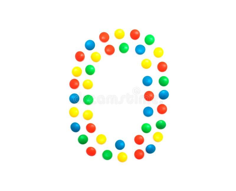 Αριθμοί παιδιών που σχεδιάζονται από έναν πολύχρωμο αριθμό αριθμός 0, αλφάβητο μωσαϊκών στοκ φωτογραφία με δικαίωμα ελεύθερης χρήσης