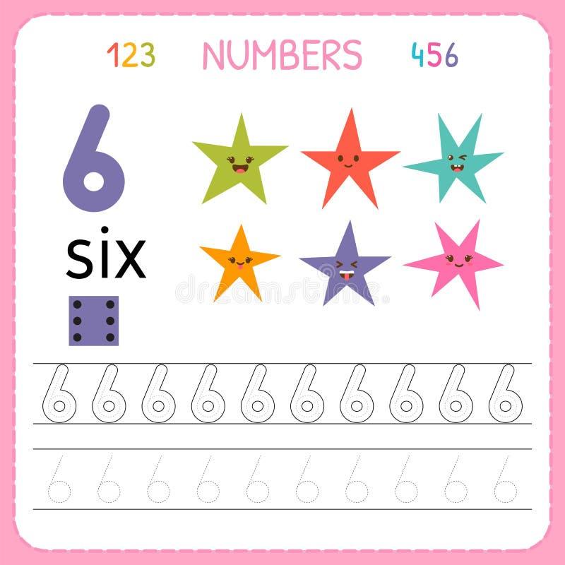 Αριθμοί που επισημαίνουν το φύλλο εργασίας για τον παιδικό σταθμό και τον παιδικό σταθμό Αριθμός έξι γραψίματος Ασκήσεις για τα π διανυσματική απεικόνιση