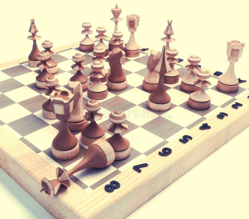 αριθμοί σκακιού χαρτονιώ&nu διανυσματική απεικόνιση