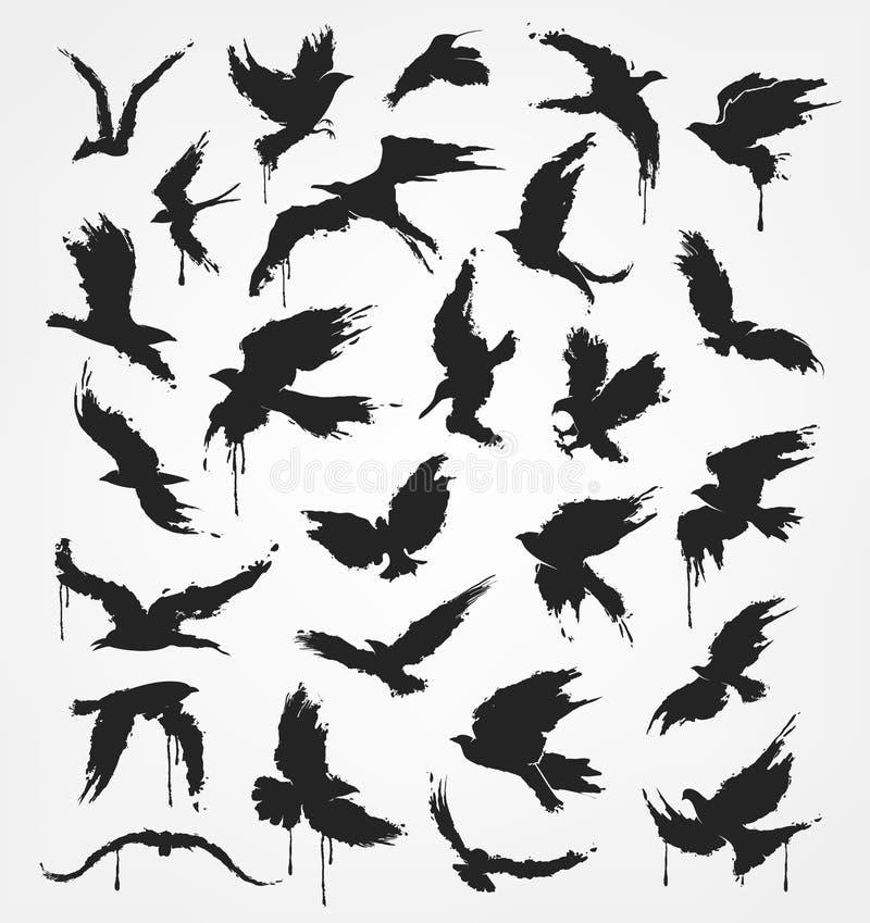 Αριθμοί των πετώντας πουλιών στο ύφος grunge απεικόνιση αποθεμάτων