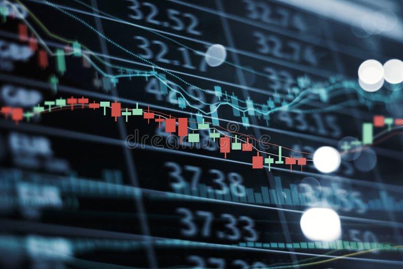 Αριθμοί χρηματιστηρίου επίδειξης οδηγήσεων και διάγραμμα και στοιχεία χρηματιστηρίου γραφικών παραστάσεων στοκ φωτογραφίες