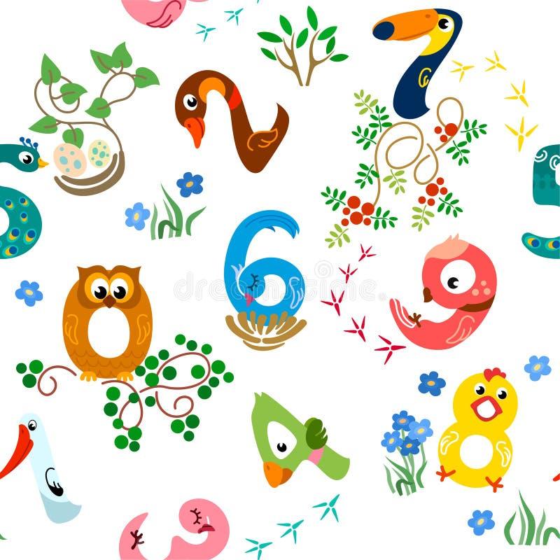 Αριθμοί όπως το άνευ ραφής σχέδιο πουλιών διανυσματική απεικόνιση
