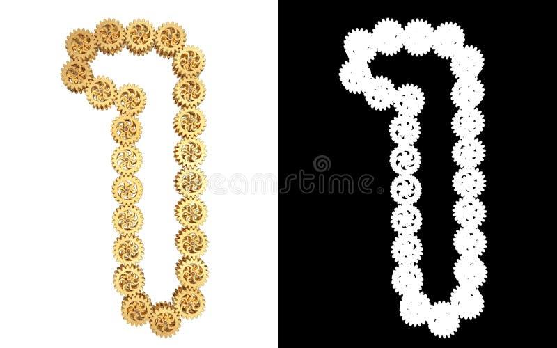 Αριθμός ένας από το χρυσό μηχανισμό εργαλείων Άλφα κανάλι απεικόνιση αποθεμάτων