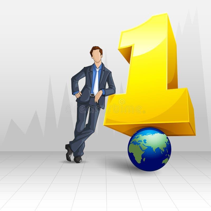 Αριθμός ένα επιχειρηματίας διανυσματική απεικόνιση