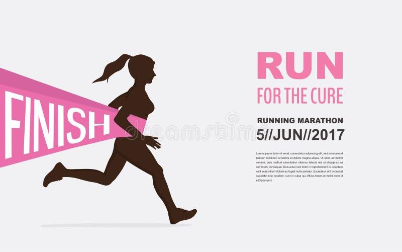 Αριθμός ένα νικητής σε μια γραμμή τερματισμού Συνειδητοποίηση καρκίνου του μαστού τρέξιμο για το σοβαρό λόγο διανυσματική απεικόνιση
