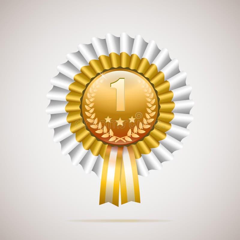 Αριθμός ένα χρυσό βραβείο με την άσπρη και χρυσή κορδέλλα διανυσματική απεικόνιση