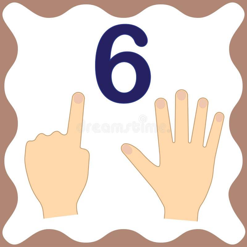 Αριθμός 6 έξι, εκπαιδευτική κάρτα, υπολογισμός εκμάθησης με τα δάχτυλα ελεύθερη απεικόνιση δικαιώματος