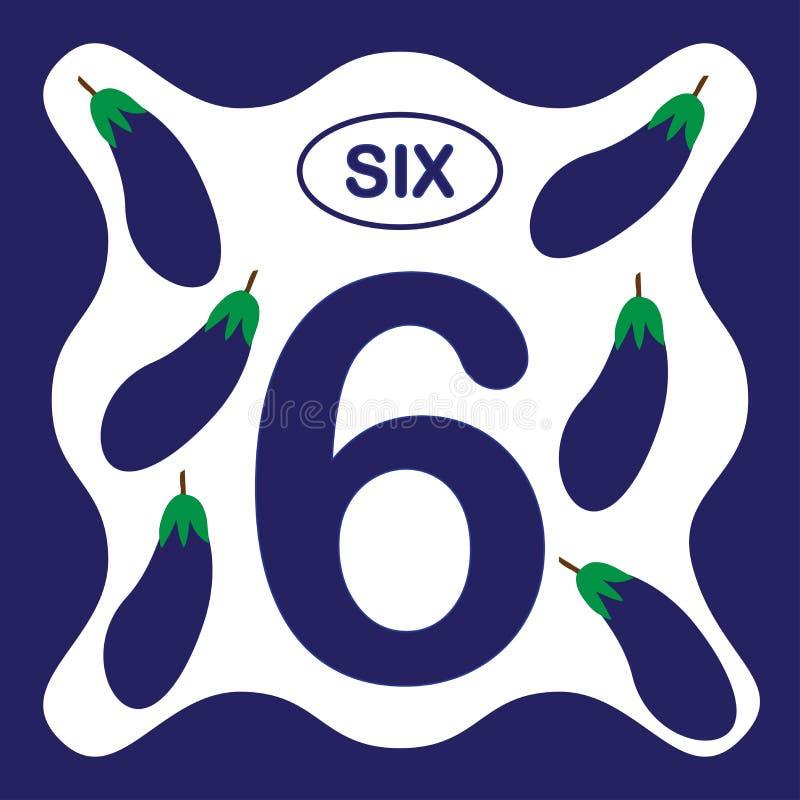 Αριθμός 6 έξι, εκπαιδευτική κάρτα, υπολογισμός εκμάθησης διανυσματική απεικόνιση