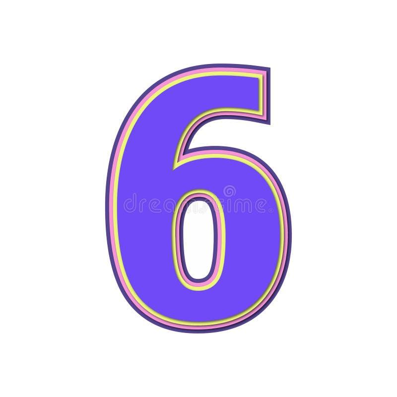 Αριθμός έξι με τα ζωηρόχρωμα χρώματα και τη μαλακή σκιά διάνυσμα ελεύθερη απεικόνιση δικαιώματος